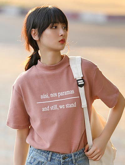 Letter printed cotton blend Tee