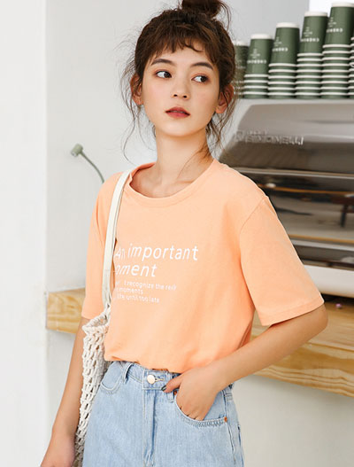 Letter printed cotton Tee
