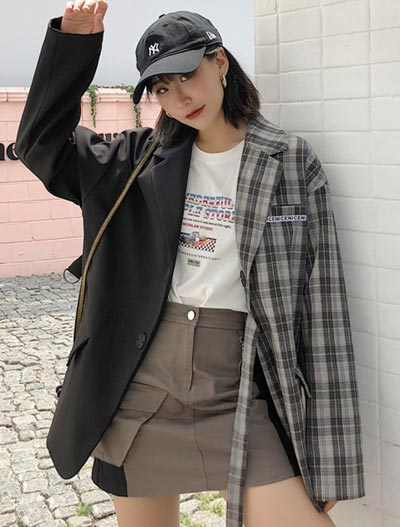 Checked paneled suit/blazer