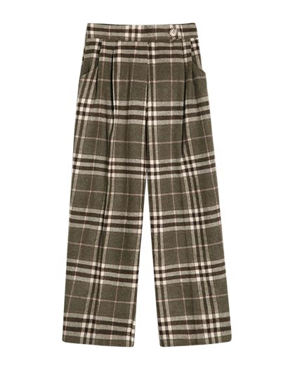 Checked straight-leg trousers/pants