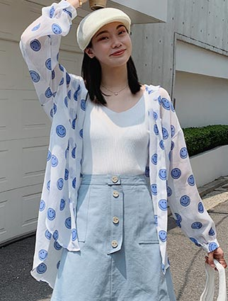 Smiling face printed hooded chiffon summer outer