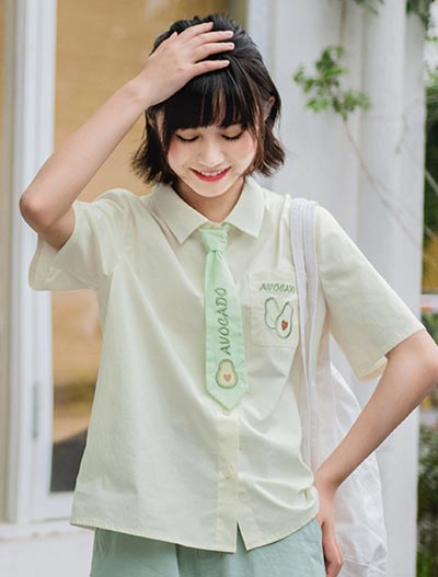 Avocado embroidered cotton blend shirt + tie