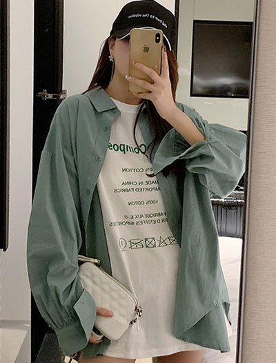 Oversized solid color cotton blend shirt