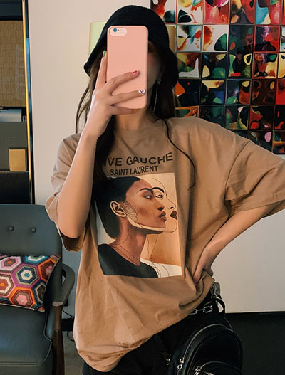 Oversized letter image printed cotton blend Tee
