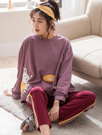 Cartoon printed cotton pyjama set