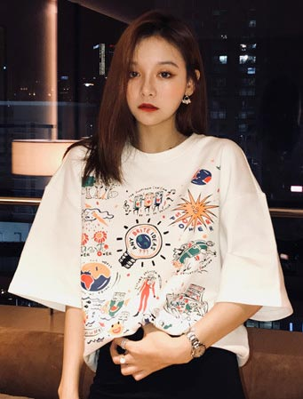 Oversized cartoon printed cotton blend Tee