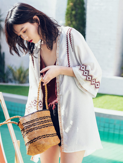 Embroidered summer outer