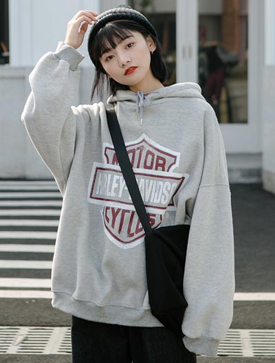 Oversized letter printed cotton fleece hoodie