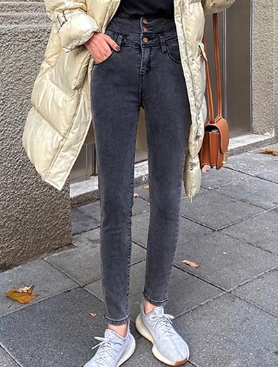 High rise fleece skinny jeans