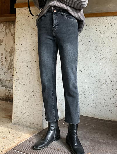 High rise cropped straight-leg jeans
